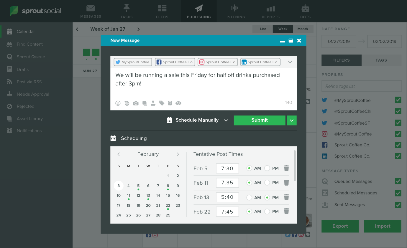 sprout social posting tool